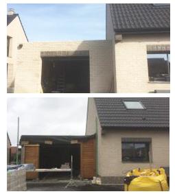 Extension et garage en bois r nov s haute france for Construction en brique de bois